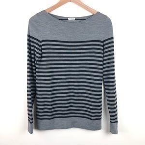 Akris Punto Wool Boatneck Striped Grey Sweater